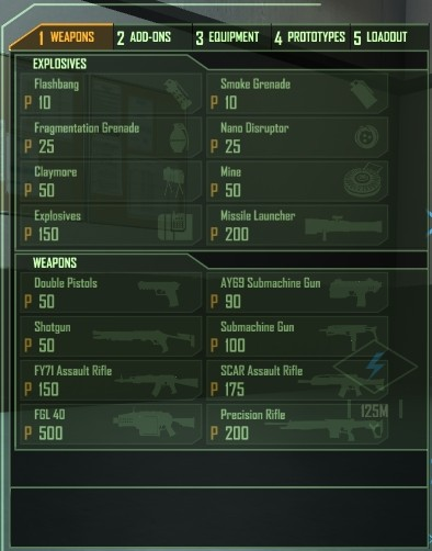 Weapons Loadout