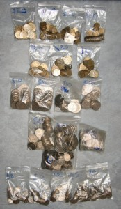 My bags of coin collection ($320 worth)