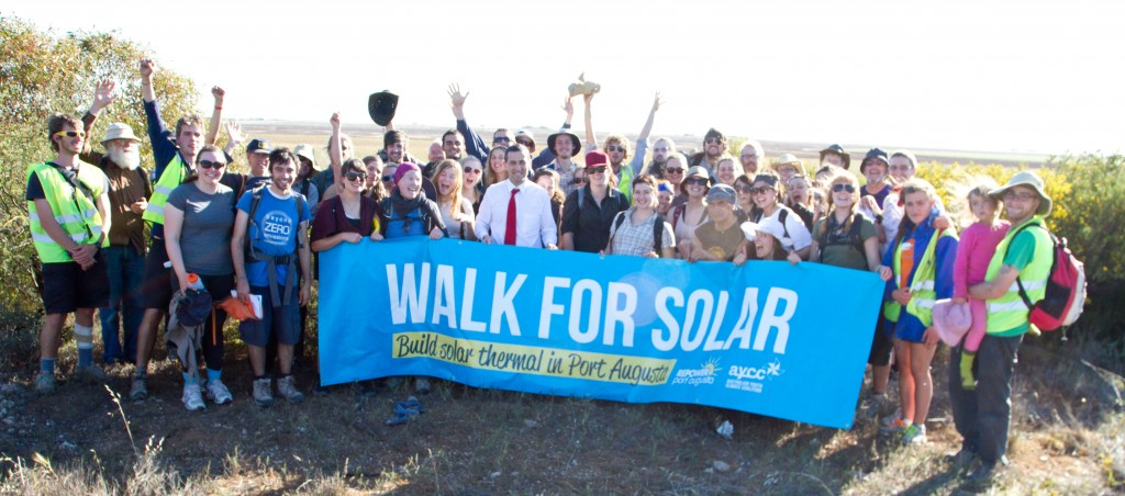 South Australian Energy minister Tom Koutsantonis talking with the walkers for solar