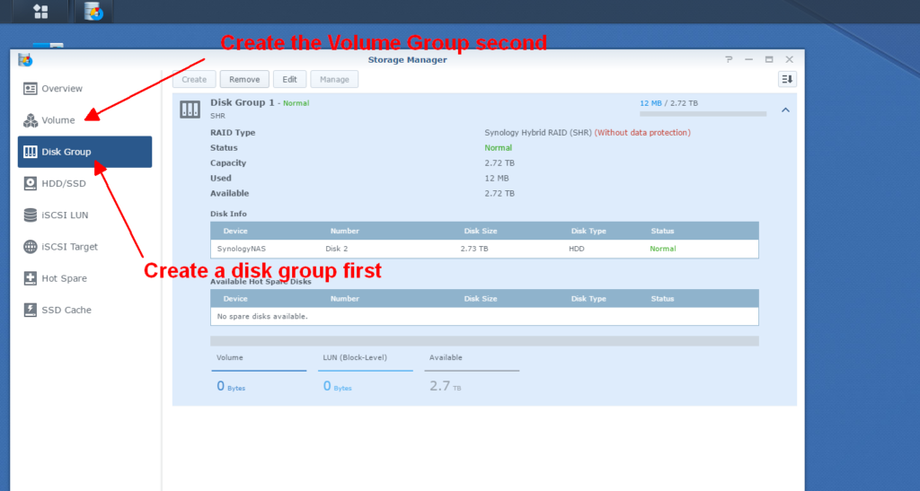 2016-08-28th Synology NAS disk group first, then volume group