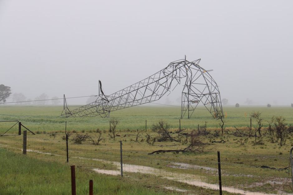 One of the High Voltage Power Lines Destroyed by the Storm