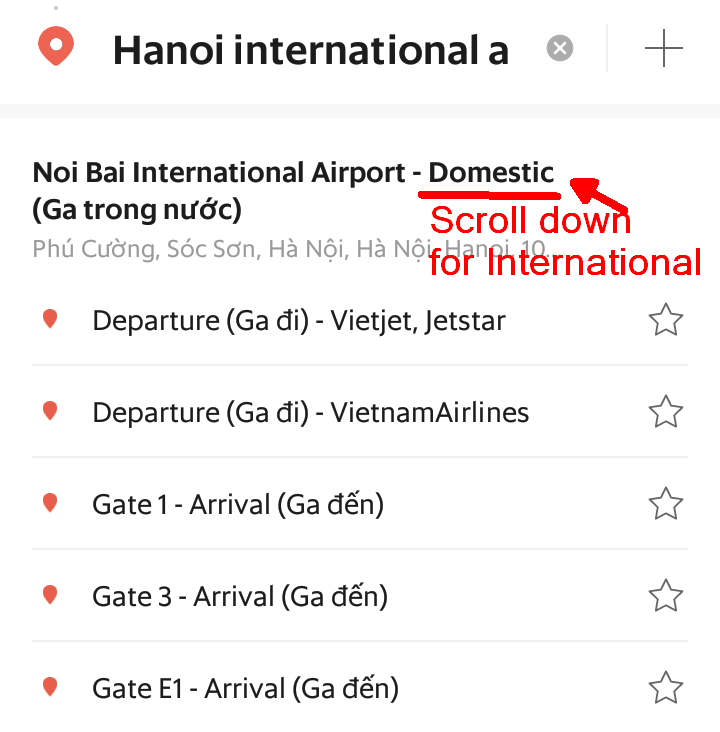 When searching for the International Terminal at Hanoi, scroll down past the Domestic ones.